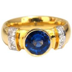 1.50ct natural vivid blue round sapphire diamonds ring 14kt Benchmark Comfort