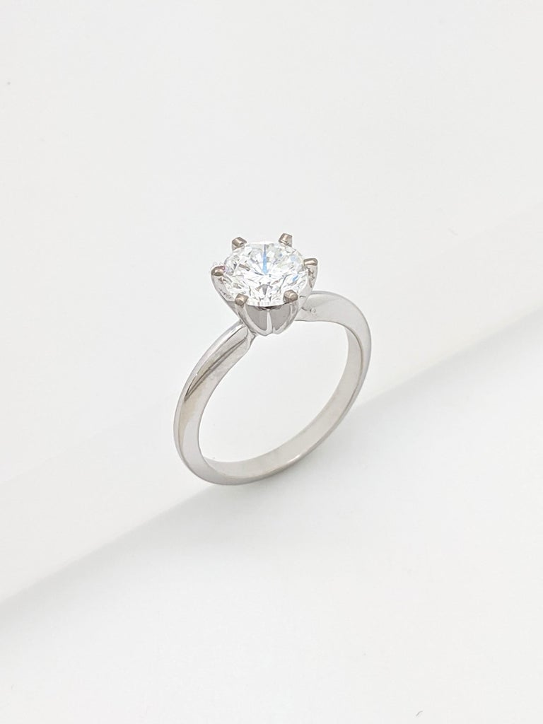 1.50 Carat Round Brilliant Cut Natural Diamond Ring GIA Certified SI2/G For Sale 2