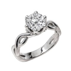 1.50 Carat Round Cut Moissanite Solitaire Engagement Ring in 14 Karat White Gold
