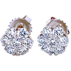 1.51 Carat 14 Karat Diamond Cluster Round Stud Earrings