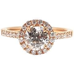 1.51 Carat 18 Karat Pink Gold Diamond Engagement Ring