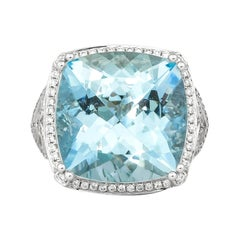 15.1 Carat Aquamarine and Diamond Ring in 14 Karat White Gold