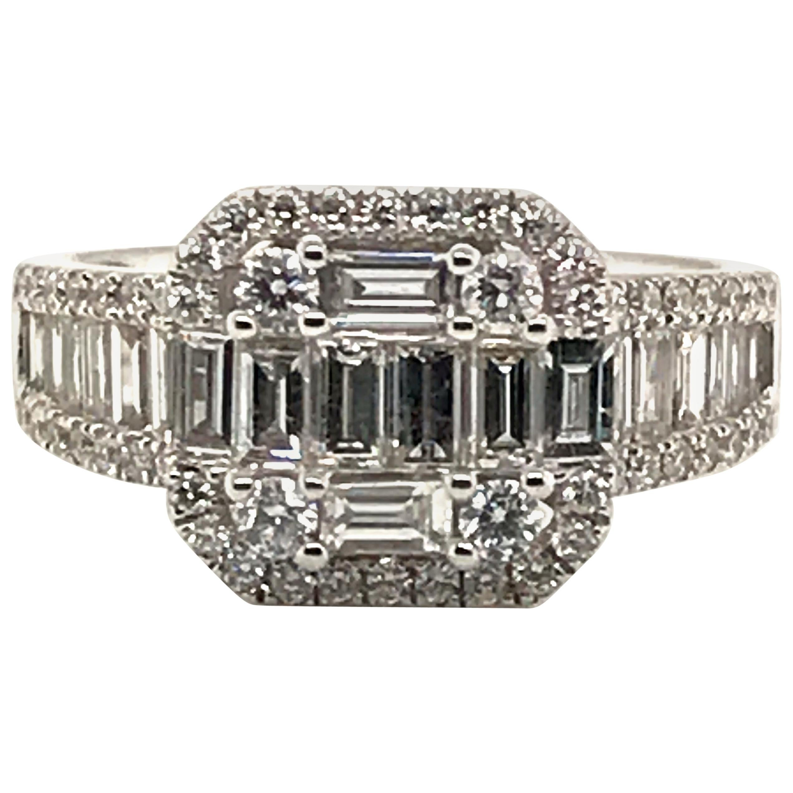 1.51 Carat Baguette and Round Diamond Ring