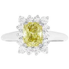 1.51 Carat Cushion Cut Yellow Diamond Ring