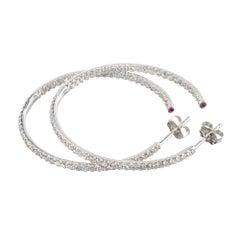 Roberto Coin 1.51 Carat Diamond Ruby 18 Karat White Gold Hoop Earrings