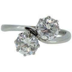 1.51 Carat Diamond Two-Stone Twist Ring, Platinum