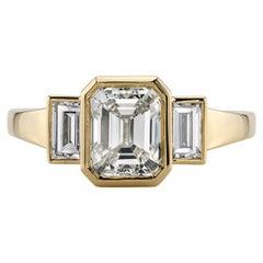 1.51 Carat Emerald Cut Diamond Set in a Handcrafted 18 Karat Yellow Gold Ring