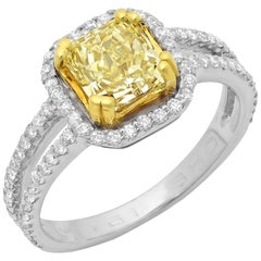 1.51 Carat Fancy Yellow Cushion Diamond Solitaire 18 Karat Two-Tone Gold Ring