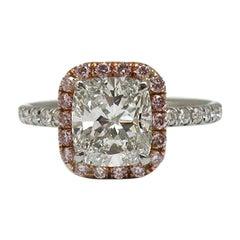 1.51 Carat GIA Certified Cushion Cut Ring with Fancy Intense Pink Diamond Halo