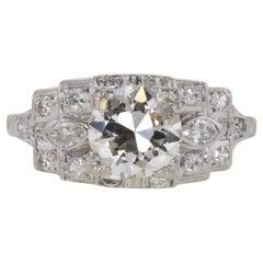 1.51 Carat J VS1 Round Diamond and Platinum Art Deco Engagement Ring