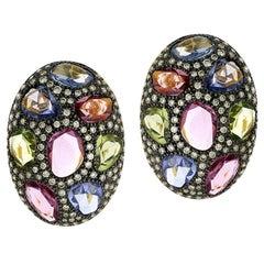 15.1 Carat Multi Sapphire Diamond 18 Karat Gold Oxidized Stud Earrings