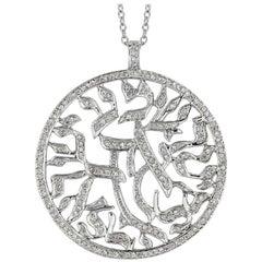 1.51 Carat Natural Diamond Religious Necklace 14 Karat White Gold G SI Chain