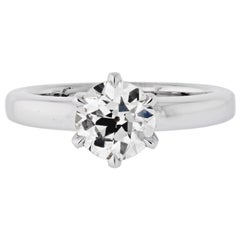 1.51 Carat Old European Cut Diamond M/VS2 GIA Six Prong Solitaire Ring