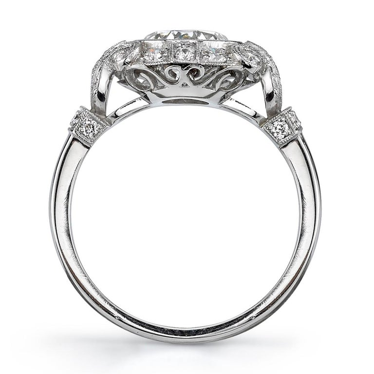 1.51 Carat Old European Cut Diamond Platinum Engagement Ring In New Condition For Sale In Los Angeles, CA