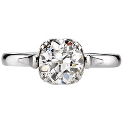 1.51 Carat Old European Cut Diamond Set in a Handcrafted Platinum Ring