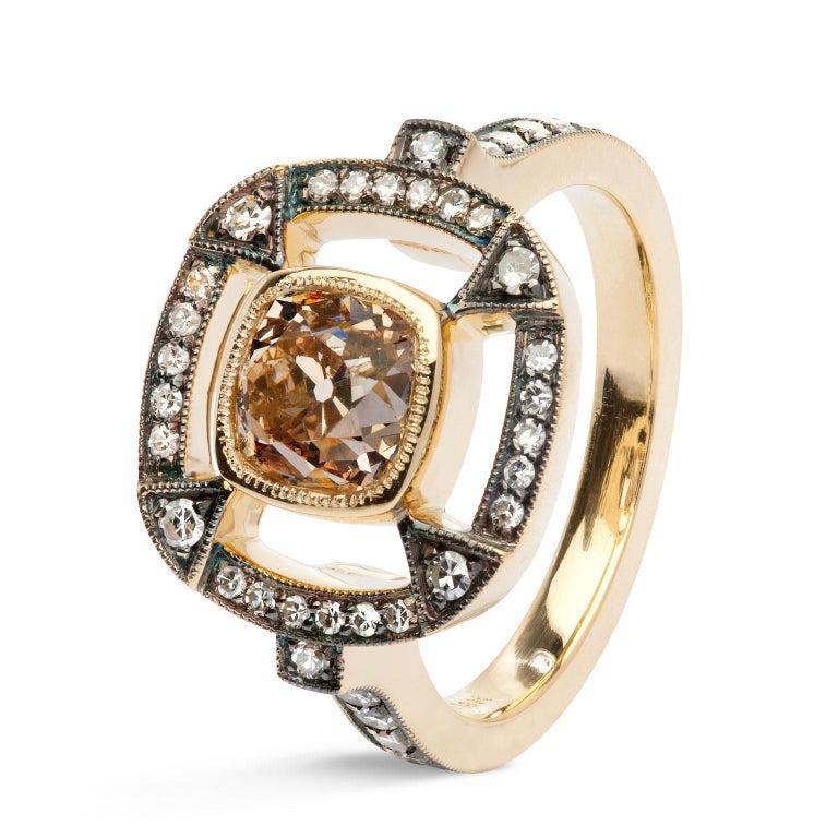 Women's 1.51 Carat Orange Brown Cushion Cut Diamond 18 Karat Gold Halo Ring For Sale