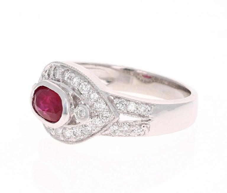 Modern 1.51 Carat Oval Cut Burmese Ruby Diamond 14 Karat White Gold Ring Cocktail For Sale