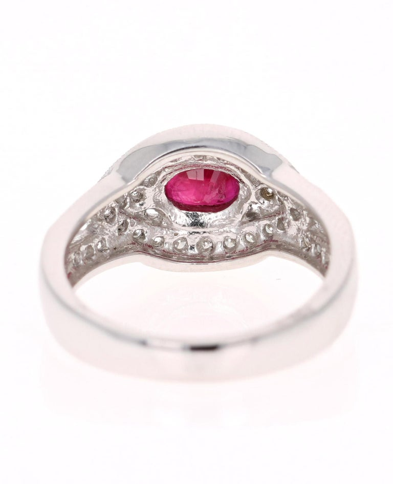 1.51 Carat Oval Cut Burmese Ruby Diamond 14 Karat White Gold Ring Cocktail In New Condition For Sale In Los Angeles, CA