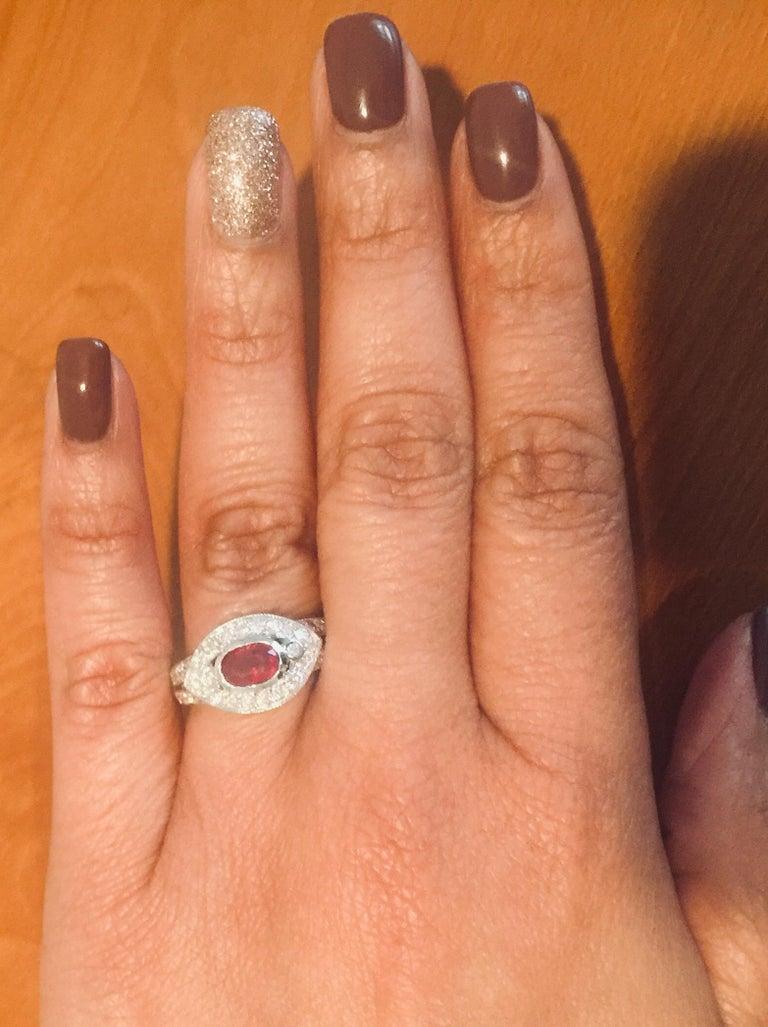 Women's 1.51 Carat Oval Cut Burmese Ruby Diamond 14 Karat White Gold Ring Cocktail For Sale