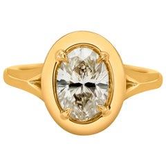 1.51 Karat Oval geschnitten Diamant Lünette Solitär Verlobungsring