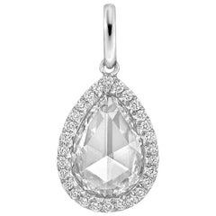 """1.51 Carat Pear Rose-Cut Diamond """"Oriana"""" Pendant"""