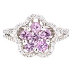 1.51 Carat Pink Sapphire Diamond 14 Karat White Gold Ring