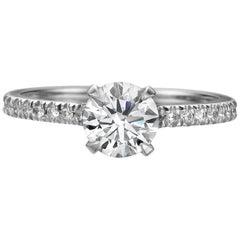 1.51 Carat Round Brilliant Cut Diamond Engagement Ring on 18 Karat White Gold