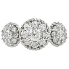 1.51 Carat Round Diamond 3-Stone Cluster Engagement Wedding White Gold Ring