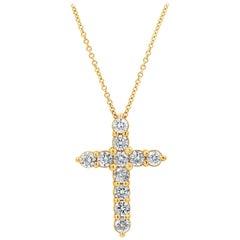1.51 Carat Round Diamond Cross Pendant Necklace