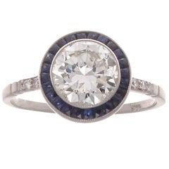 1.51 Carat Round Diamond Sapphire Engagement Ring