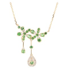 1.51 Carat Tsavorite Diamond 14 Karat Yellow Gold Chain Necklace