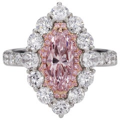 1.51 ct Natural Fancy Pink Marquise Diamond Halo Cocktail Ring in 18k White Gold