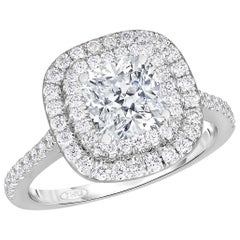 1.51 Cushion GIA E Color Conflict Free Double Halo in 14 Karat White Gold