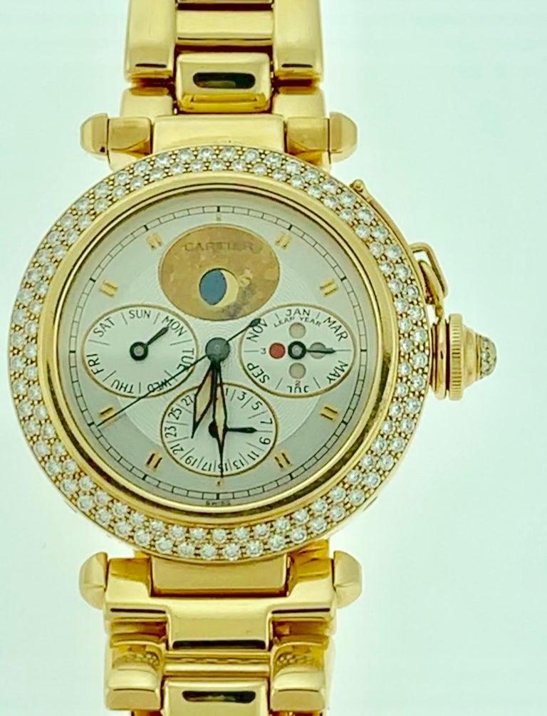 151 Gm 18 Karat Gold Cartier Pasha Factory Diamond Automatic Chrono Watch For Sale 5