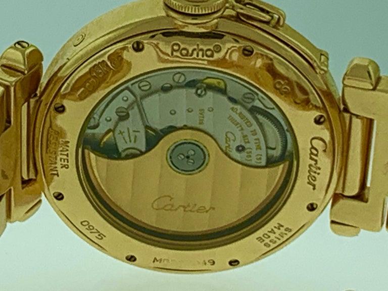 151 Gm 18 Karat Gold Cartier Pasha Factory Diamond Automatic Chrono Watch For Sale 6