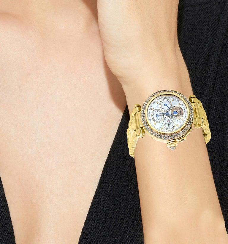 151 Gm 18 Karat Gold Cartier Pasha Factory Diamond Automatic Chrono Watch For Sale 8