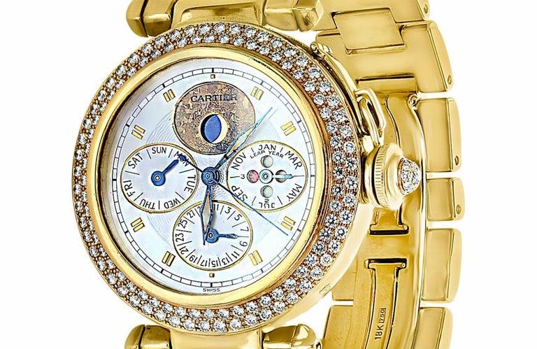 151 Gm 18 K Yellow Gold Cartier Pasha Factory Diamond Automatic Chrono Watch !!! Brand Cartier Model Pasha Case material Yellow gold Bracelet material Yellow Gold Gender Men's watch/Unisex Movement Automatic Case diameter 38 mm Water resistance