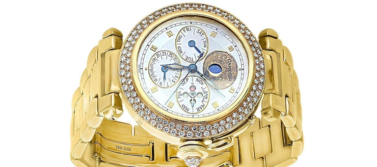 Round Cut 151 Gm 18 Karat Gold Cartier Pasha Factory Diamond Automatic Chrono Watch For Sale