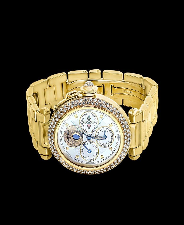 151 Gm 18 Karat Gold Cartier Pasha Factory Diamond Automatic Chrono Watch In Excellent Condition For Sale In Scarsdale, NY