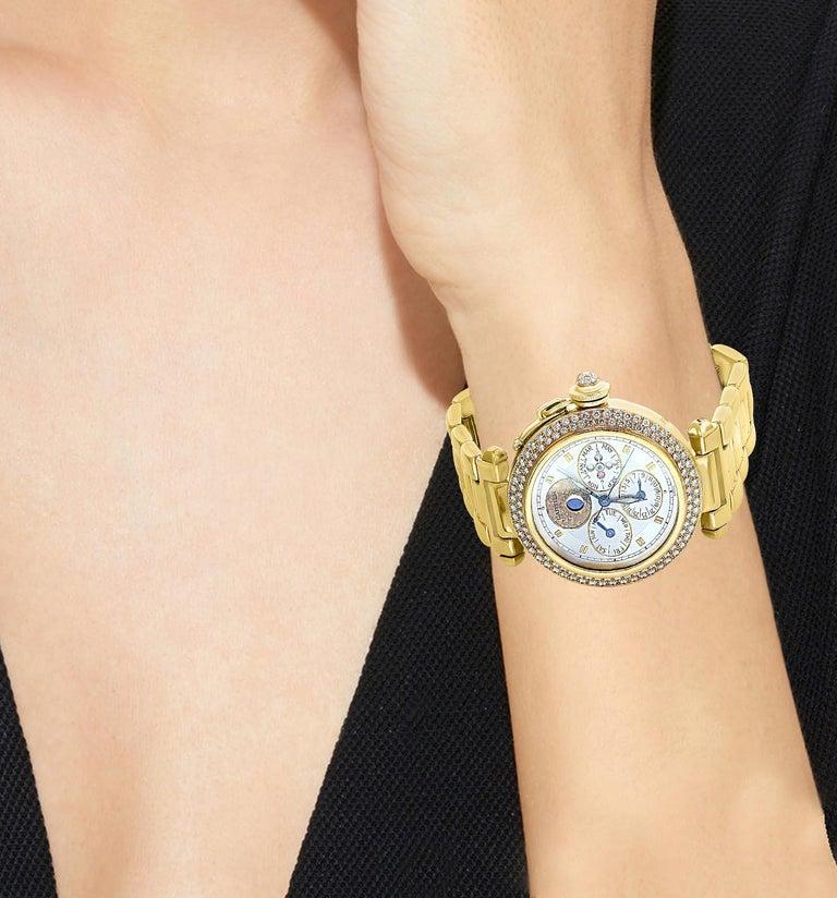 Women's or Men's 151 Gm 18 Karat Gold Cartier Pasha Factory Diamond Automatic Chrono Watch For Sale