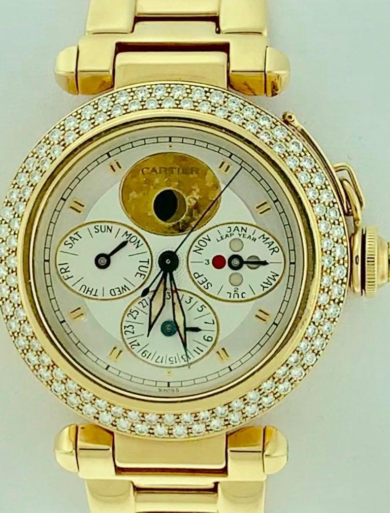 151 Gm 18 Karat Gold Cartier Pasha Factory Diamond Automatic Chrono Watch For Sale 1