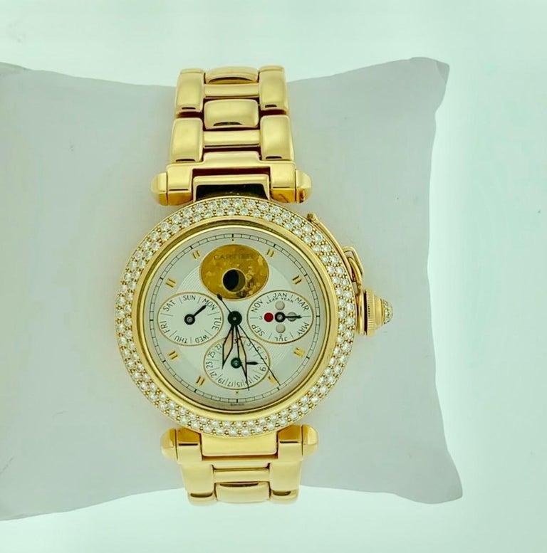 151 Gm 18 Karat Gold Cartier Pasha Factory Diamond Automatic Chrono Watch For Sale 2