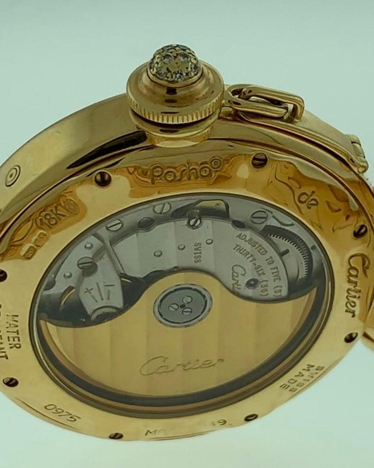 151 Gm 18 Karat Gold Cartier Pasha Factory Diamond Automatic Chrono Watch For Sale 3