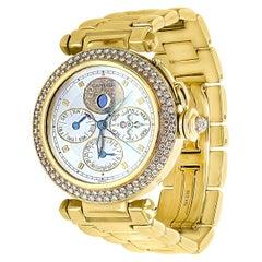 151 Gm 18 Karat Gold Cartier Pasha Factory Diamond Automatic Chrono Watch