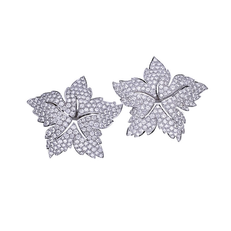 15.10 Carat Diamond 18 Kt. White Gold Star Earrings