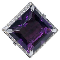 15.10 Carat Princess Cut Amethyst 0.98 Carat White Diamond Cocktail Ring