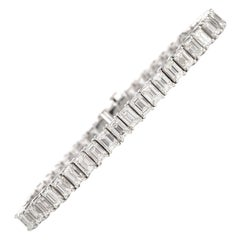15.11 Carat Emerald-Cut Diamond Platinum Line Tennis Bracelet