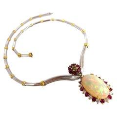 15.14 Carat Natural Opal Ruby Diamond Necklace 14 Karat