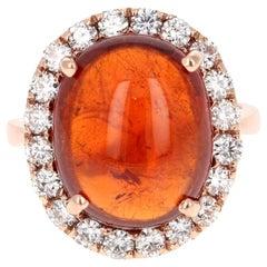 15.14 Carat Spessartine Garnet Diamond Rose Gold Cocktail Ring