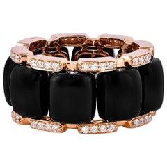 15.17 Carat Black Onyx and White Diamond Ring in 18 Karat Rose Gold